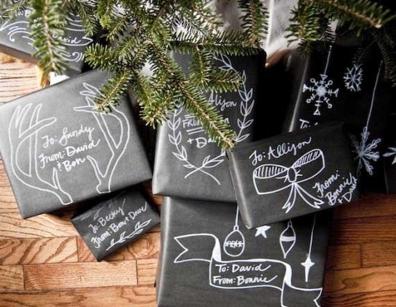 chalkboard paper gift wrap
