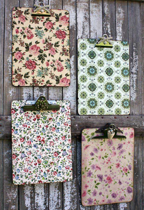 clipboards lined with wrapping paper