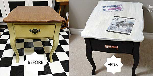 end table makeover by rustic-crafts.com