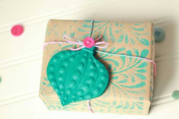 homemade ornament gift wrap