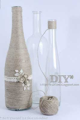 twine wrapped wine bottle