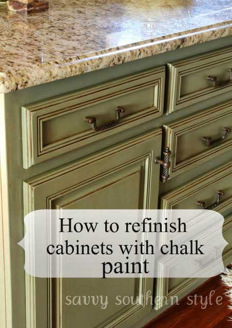 Ideas for painted kitchen cabinets rustic crafts chic for Can i paint kitchen cabinets with chalk paint