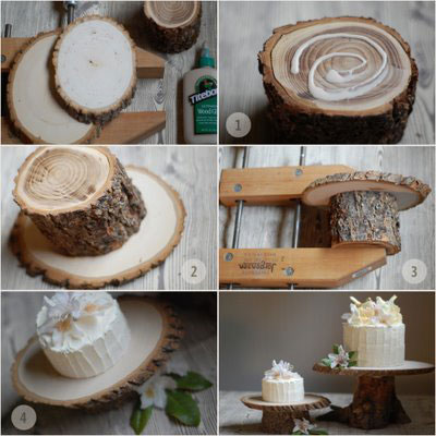 diy rustic cake stands