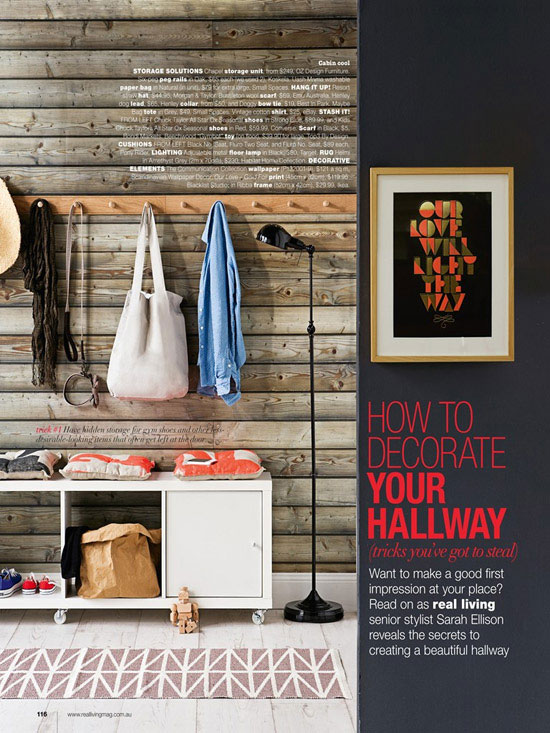 hallway with rustic wood wall