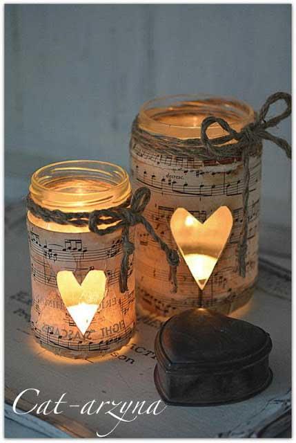 music sheet jar candles