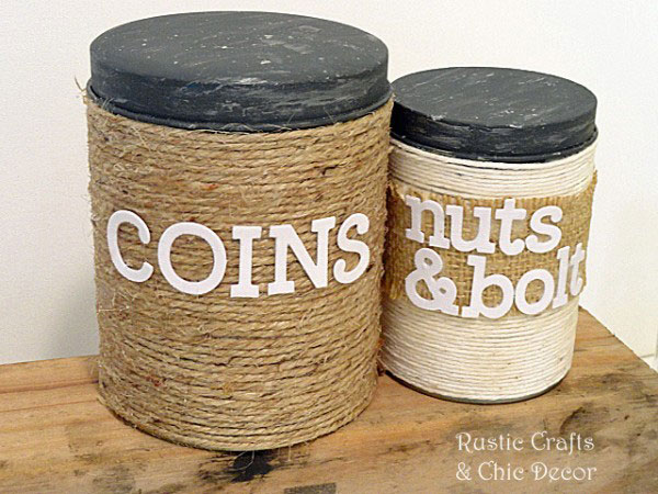 recycled tin storage canisters