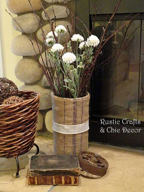 rustic grainsack vase craft by rustic-crafts.com