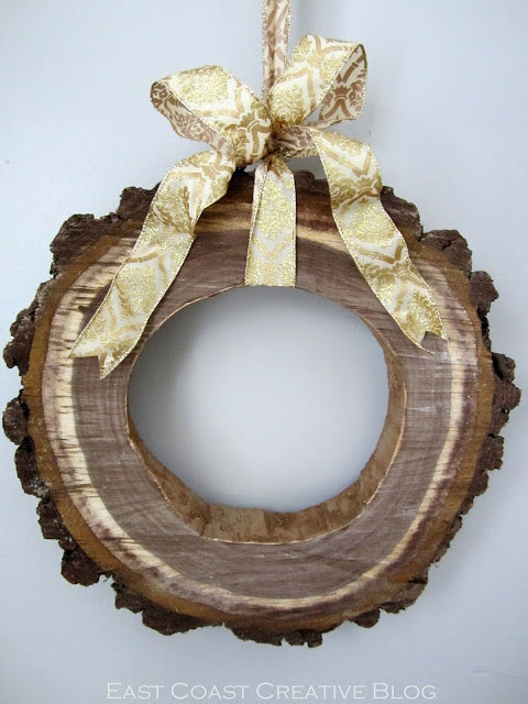 rustic wood slice wreath