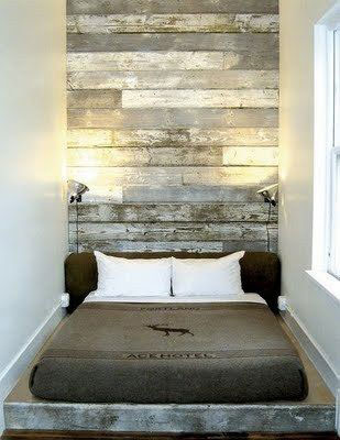 salvaged wood bedroom headboard wall