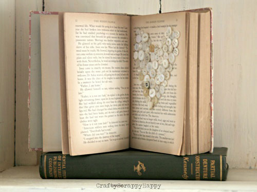 vintage button and book art