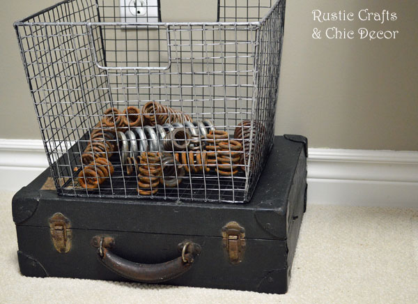 vintage suitcase and industrial basket