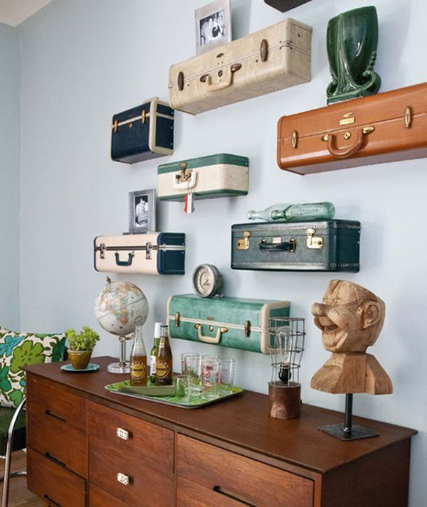 diy suitcase shelving