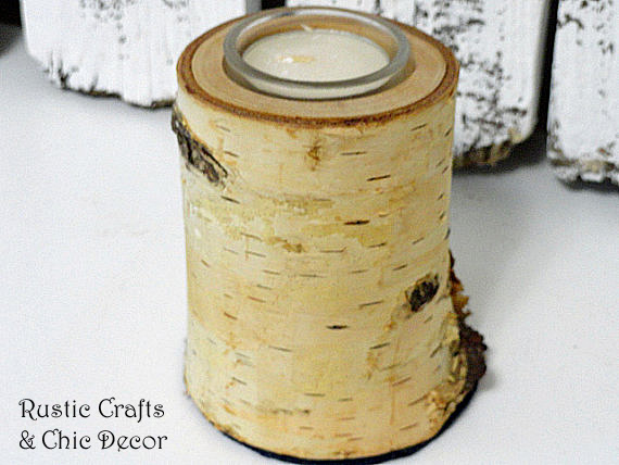 birch candle holder by rustic-crafts.com