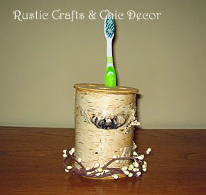 birch toothbrush holder by rustic-crafts.com