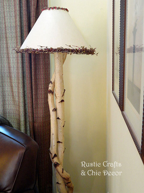 birch floor lamp by rustic-crafts.com