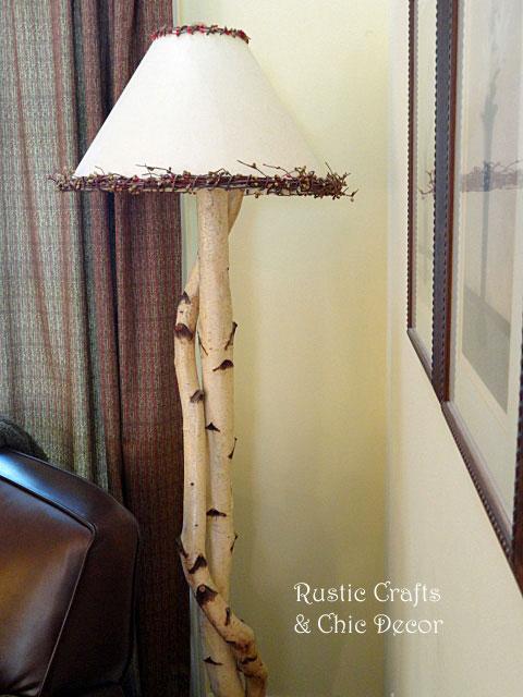 birch floor lamp by rustic-crafts.com