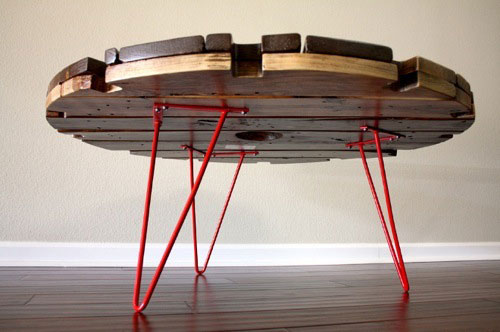 upcycled spool top table