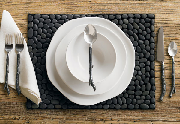 black stone placemat