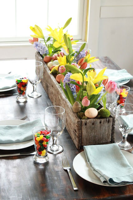 Easter flower box centerpiece