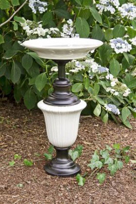 recylced bird bath lamp