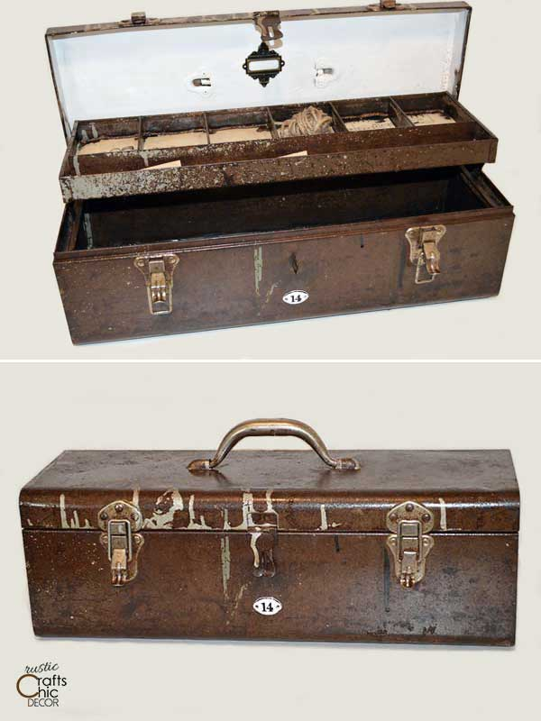 old toolbox repurposed for storage