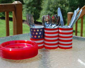 patriotic can utensil holder