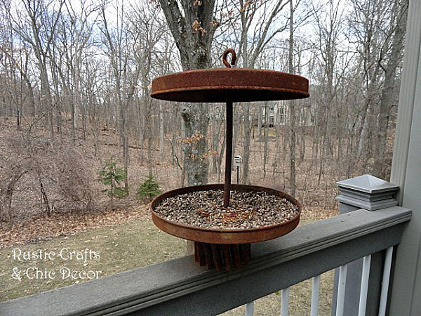 salvaged metal bird feeder by rustic-crafts.com