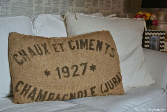 vintage grain sack pillow