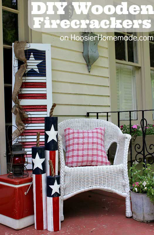 wooden front porch firecrackers