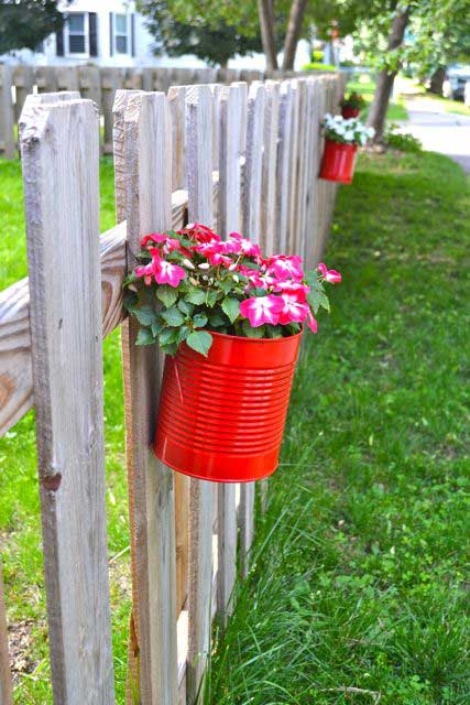 upcycled can flower pots