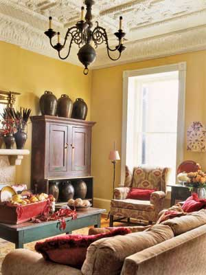 dark yellow living room