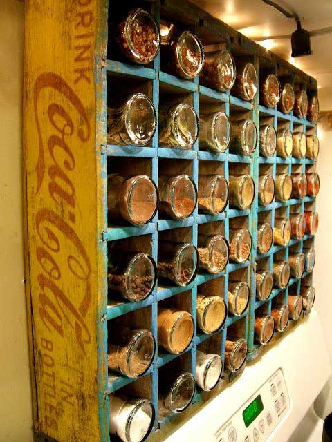 soda crate spice rack