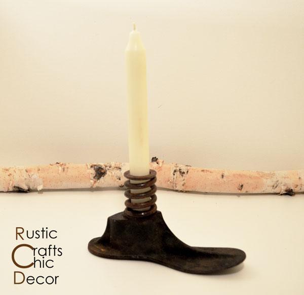 cast iron shoe mold candleholder