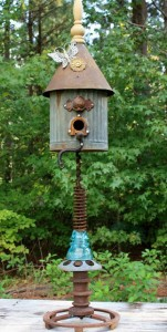 scrap metal birdhouse