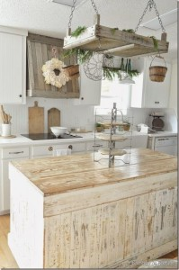buckets of burlap farmhouse kitchen
