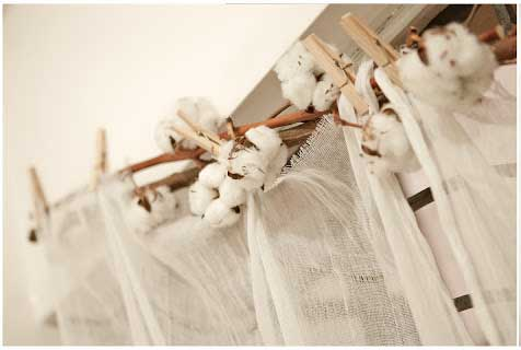 diy cotton stem curtain decor