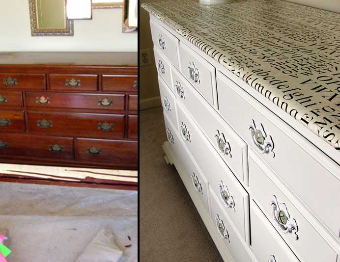 how to update old furniture with paper