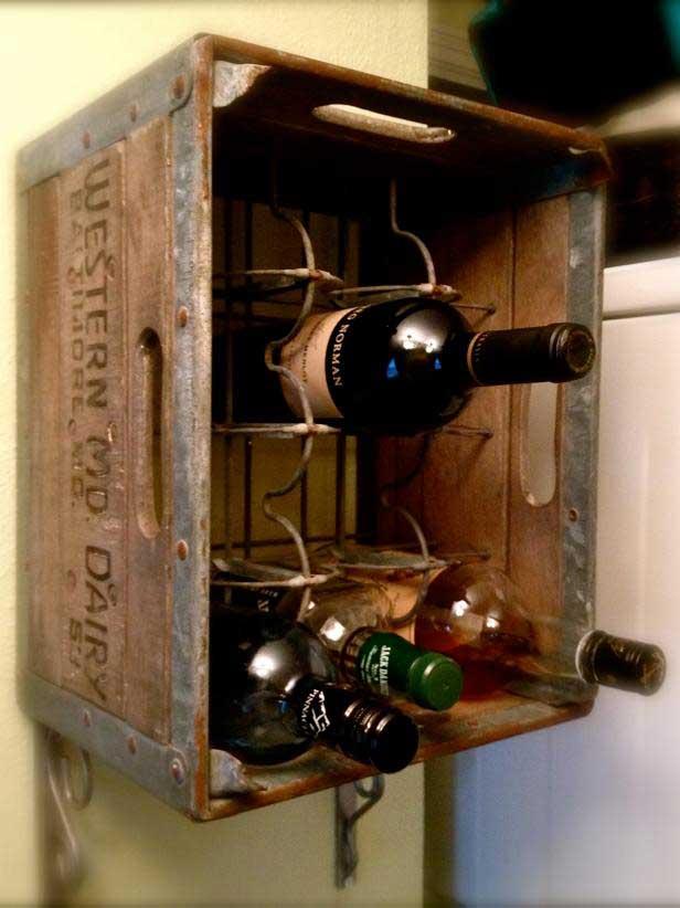 milk crate turned wine rack