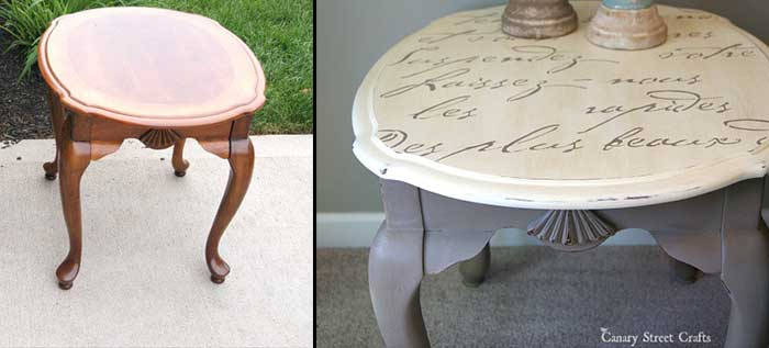 how to update old furniture with stencils