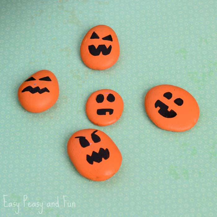 quick Halloween crafts - painted pumpkin rocks