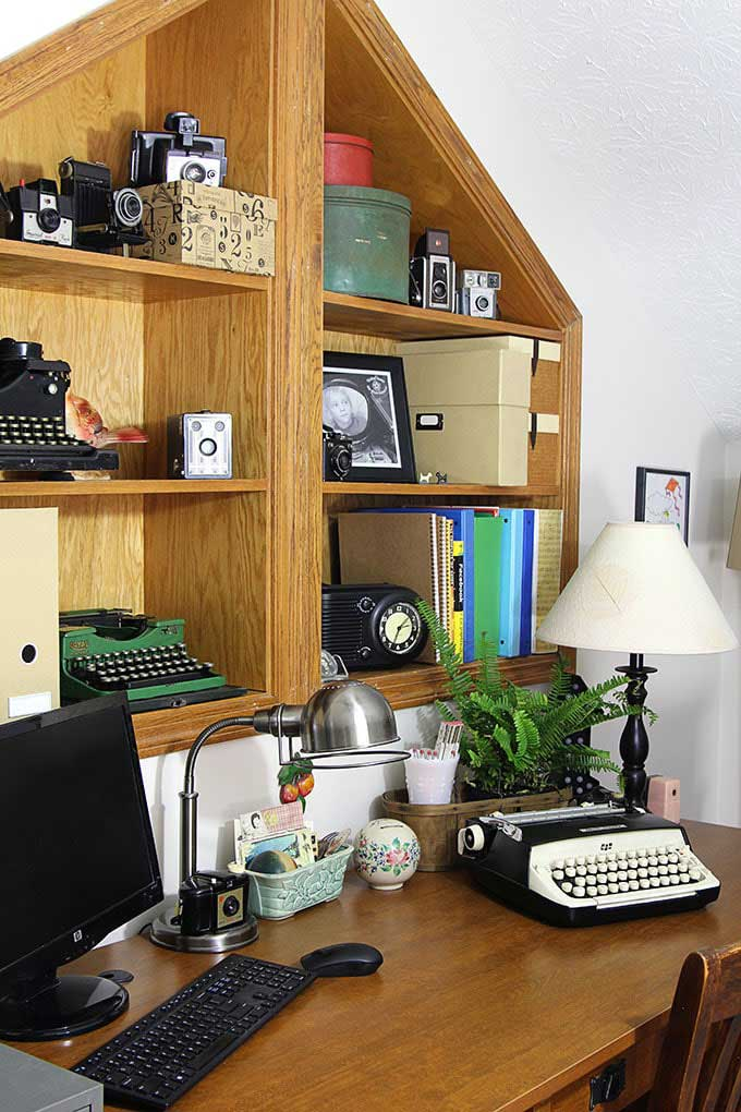 vintage typewriter in a home office