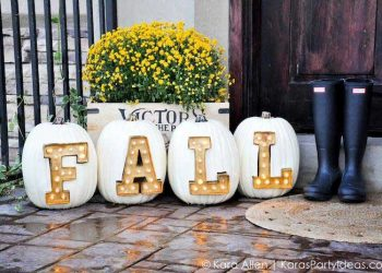 carved letter pumpkins inserted with letter marquee lights