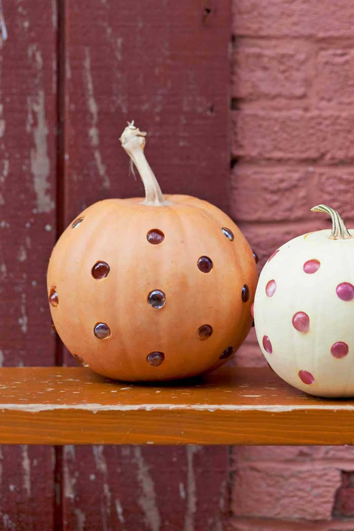 carved polka dot pumpkins with glass beads