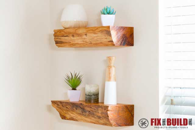 diy floating shelves made from firewood