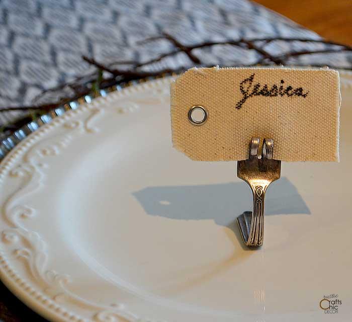 silverware placecard holder upcyling idea