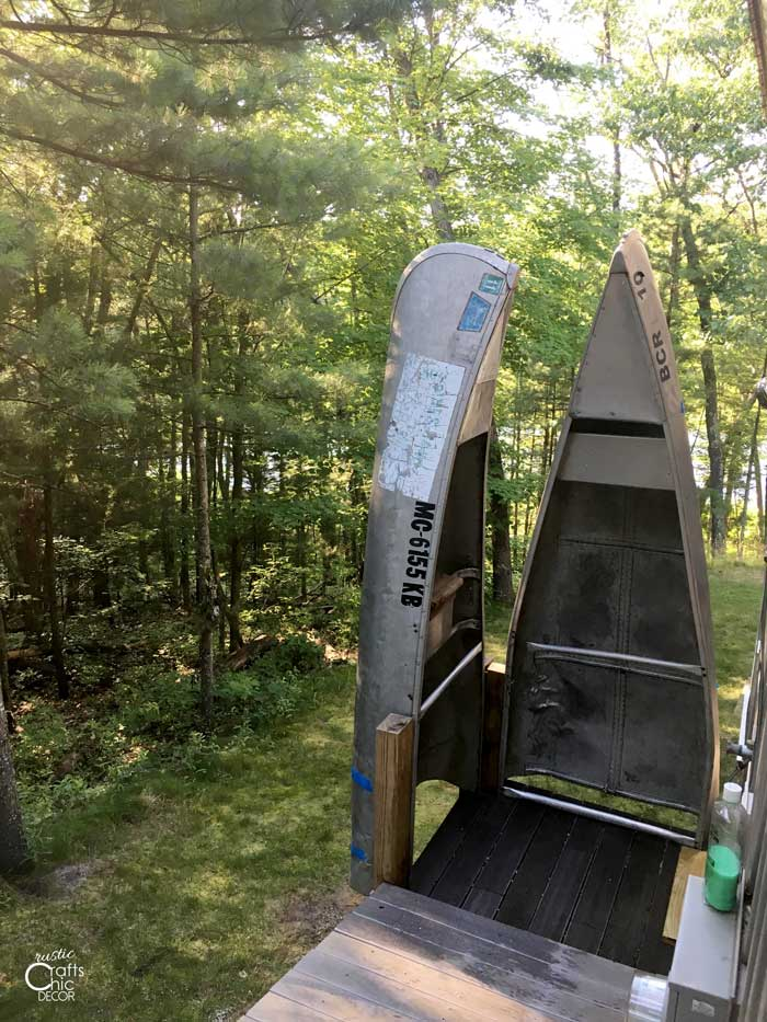 upcycled canoe outdoor shower