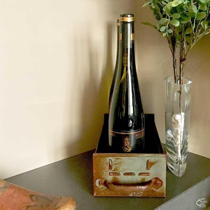 upcycled drawer wine holder