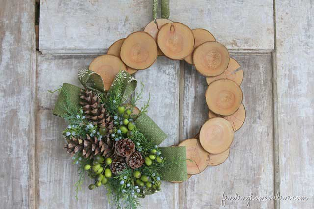 Christmas wreath made from wood slices