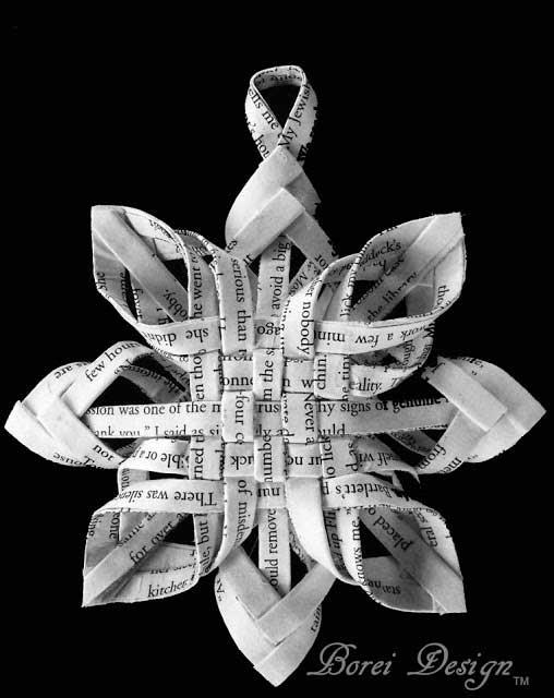 homemade Christmas ornaments - book page snowflake