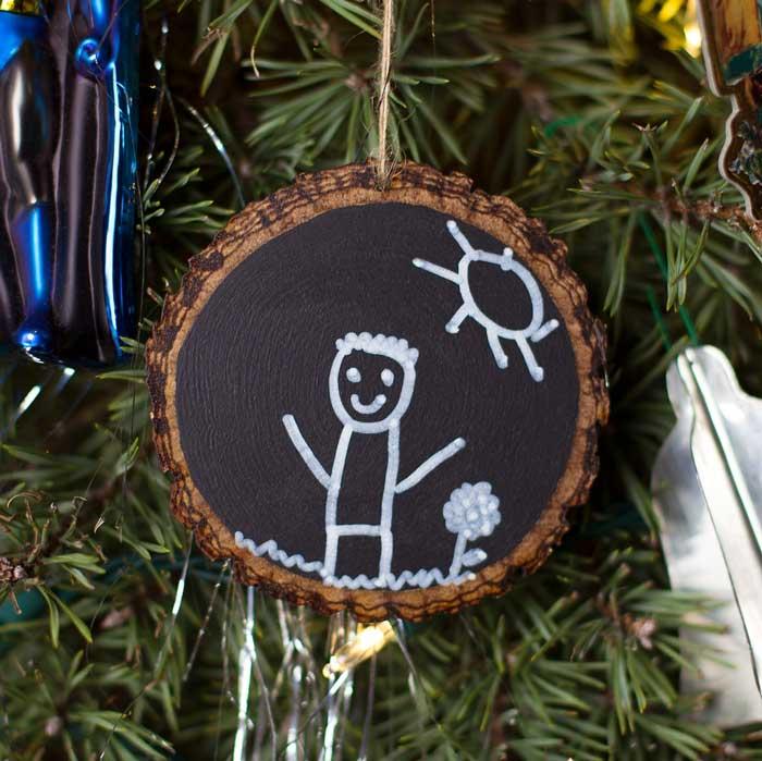 DIY keepsake chalkboard ornaments